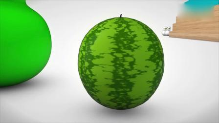 亲子早教动画 大白鸭滑滑梯跳进颜料桶里,学习颜色和水果的英文名称!