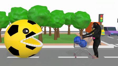 亲子早教动画 大猩猩从超市购买了彩色大西瓜,推到路口时被足球豆豆人吃完了