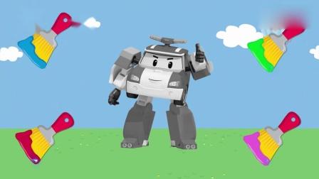 亲子早教动画 各种颜色的颜料刷给超级飞侠乐迪和机器人刷上不同颜色学英文