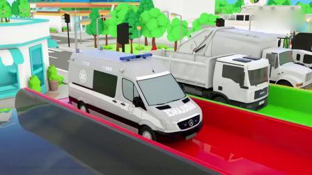 亲子早教动画 警车救护车卡车垃圾车拖拉机滑滑梯换轮胎染色,学习英语