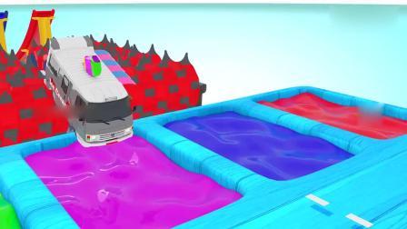 亲子早教动画 垃圾车搅拌机大卡车经过障碍跳进颜料水池染色,益智动画学英文