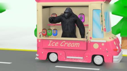 亲子早教动画 老虎熊羊猩猩小狗排队去买美味的冰淇淋吃了变颜色