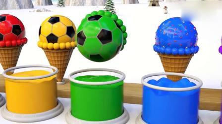 亲子早教动画 美味冰淇淋跳进奶油桶变成足球冰淇淋,大象吃了变彩色!