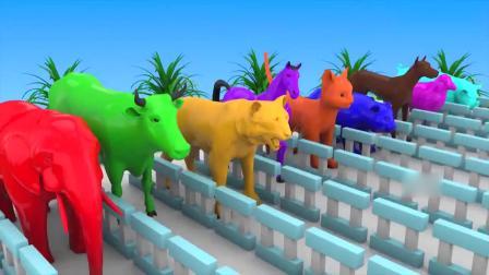 亲子早教动画 小动物从跑道上跳进大水桶学习各种颜色名称
