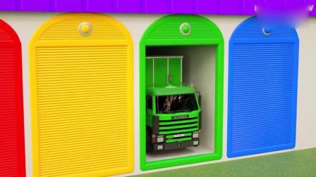 亲子早教动画 小货车从彩色车库里拉出装满小球的笼子,学习动物名称颜色
