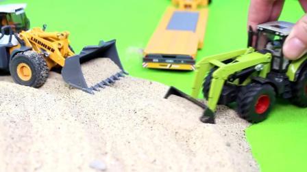 建筑工地起重机挖掘机压路机装载车推土机水泥搅拌车大卡车工作