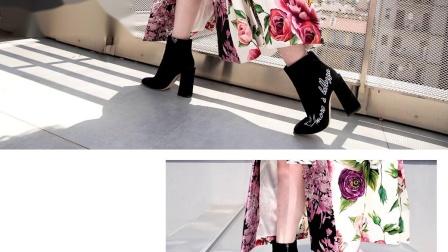 杜嘉班纳2018秋冬黑色短靴