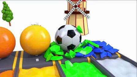 宝宝学颜色,足球过染料池,染上不同的色彩,亲子早教益智