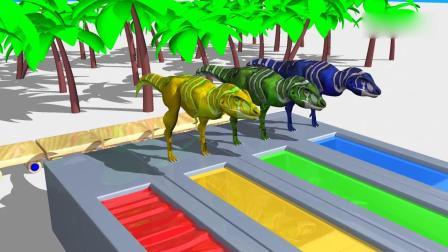亲子早教动画 斑点恐龙为了找食物吃必须趟过彩色水道,益智动画学颜色
