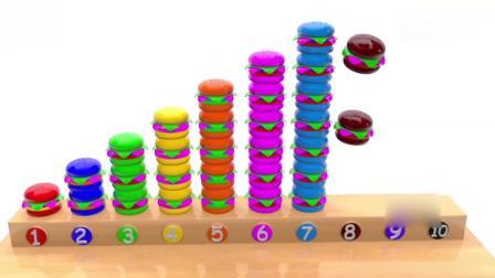亲子早教动画 彩色汉堡按颜色分类排列整齐学习英文颜色和数字1-10
