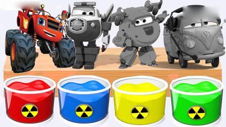 亲子早教动画 彩色桶里装满颜料水给超级飞侠猫警长多多和卡丁车染色学英文