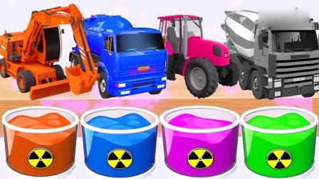 亲子早教动画 彩色颜料桶给挖土机搅拌机油罐车染色,益智动画学习英文颜色