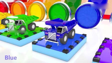 亲子早教动画 弹跳板上的卡通小汽车从彩色水管落下,益智动画学颜色