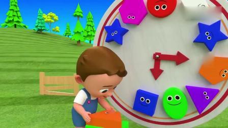亲子早教动画 萌宝宝在旋转钟表上装上不同颜色的各种形状,和小鸟学习数字1-11
