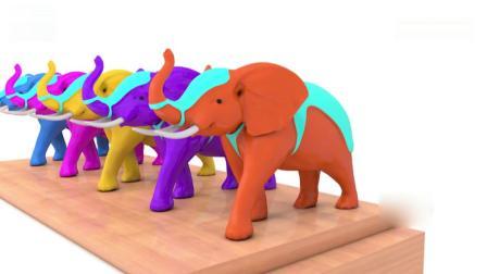 亲子早教动画 木质大象宝宝模型吃掉彩色冰淇淋筒学习英文颜色