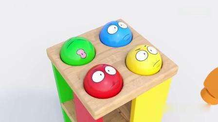 亲子早教动画 小木锤敲彩球玩具 学习英语