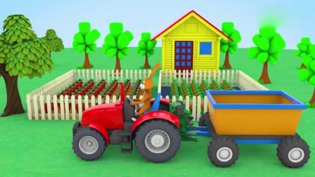 亲子早教动画 小兔子开着卡车到农场里收割各种蔬菜,益智动画学习蔬菜名称颜色