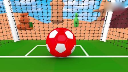 亲子早教动画 小小卡丁车在足球场踢球,足球裂开后里面藏着各种水果学名称