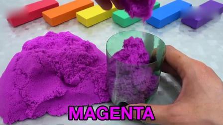 亲子早教动画 儿童DIY太空沙彩虹心型蛋糕 学习颜色