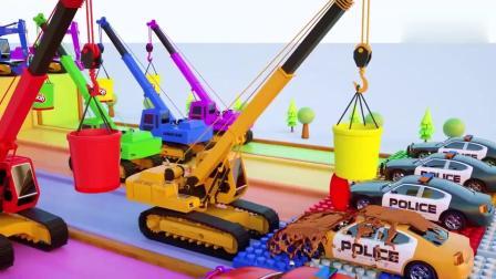 亲子早教动画 挖掘机卡车履带式起重机和警车学习颜色