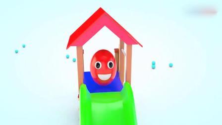 亲子早教动画 3D动画调皮的彩蛋宝宝在玩滑滑梯 宝宝学颜色