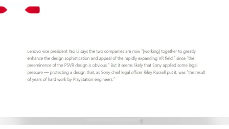 联想获得了索尼PlayStation VR设计授权 将于明年发布Mirage Solo VR