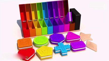 亲子早教动画 教给孩子学习形状与多彩的混合饼干 学习颜色