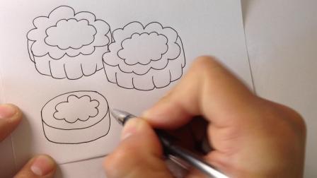 金龙手绘简笔画.月饼的画法3