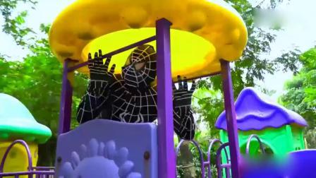 亲子早教动画 超级英雄蝙蝠侠在公园里,玩滑梯,还有海洋球