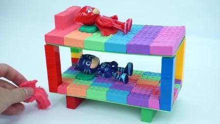 亲子早教动画 儿童DIY太空沙乐高双层宝宝床培养孩子动手制作的能力