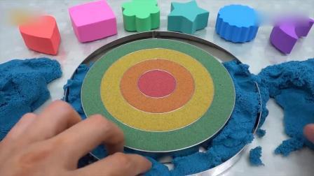 亲子早教动画 儿童动手能力培养制作太空沙心形彩虹蛋糕