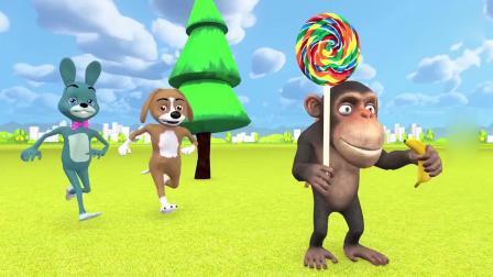 亲子早教动画 调皮的小猴子拿走了小兔子的棒棒糖跳上树,小动物都过来帮忙