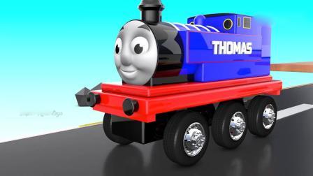 亲子早教动画 托马斯小火车路上遇到障碍,改装汽车,越过障碍