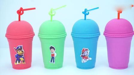 亲子早教动画 玩彩色太空沙做出彩色饮料杯图案学习英文颜色名称