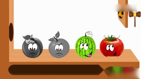 亲子早教动画 小足球砸到了水果,水果变成了彩色的