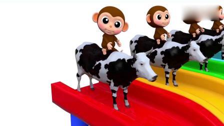 亲子早教动画 3D小猴子玩堆叠彩色圆环的游戏唱手指家庭歌