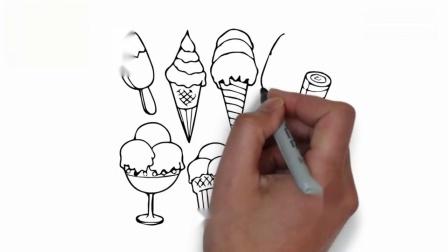 亲子早教动画 教小朋友画出雪糕 冰淇淋筒图案涂上各种颜色