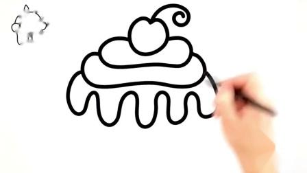 教宝宝画画,纸杯蛋糕的创意简笔画