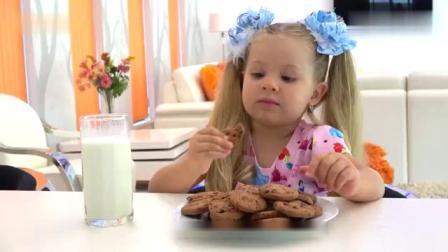 小朋友吃超级美味的巧克力饼干