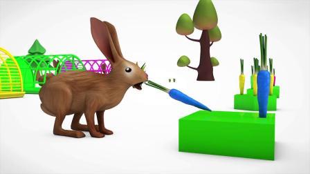 亲子早教动画 兔子吃掉彩色胡萝卜变色学习颜色