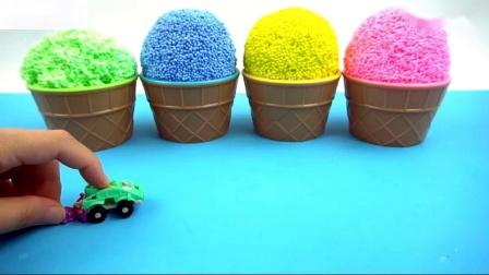 玩泡沫冰淇淋杯亲切快乐惊喜鸡蛋玩具童谣婴儿歌曲乐趣儿童