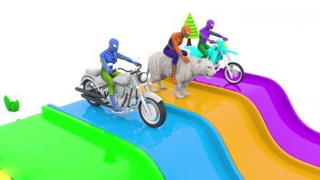 亲子早教动画 彩色卡通人物蜘蛛侠骑着小动物和摩托车学颜色