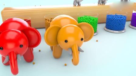 亲子早教动画 玻璃杯的彩色小球和大象宝宝学习英文颜色