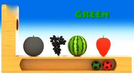 亲子早教动画 彩色小足球给水果染上正确颜色学英文