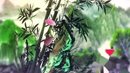 AM154-3 中国风水墨世外桃源梅花瀑布  中国风古典水墨山水画 朗诵诗歌 武术表演 民族舞蹈 年会晚会 LED大屏幕背景视频素材