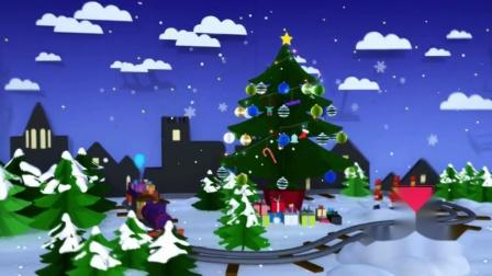AM156-11 折纸圣诞树  卡通风景 冰雪树林 小屋雪景 雪人 圣诞节 LED大屏幕舞台背景视频素材