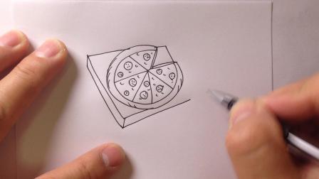 金龙手绘简笔画.美食披萨的画法