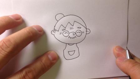 金龙手绘简笔画.卡通人物-老奶奶的画法2