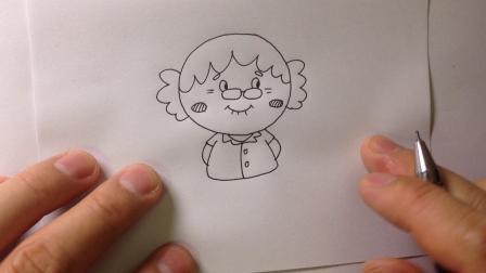 金龙手绘简笔画.卡通人物-老奶奶的画法4