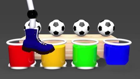 宝宝学颜色,各种小动物与彩色足球,亲子早教益智